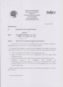 [ March 14, 2014 ] PROFILE OF TLE PROGRAM IN REGULAR HIGH ...