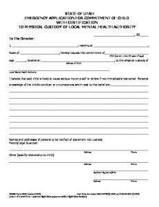 0031 Emergency Application for Commitment of Child with ...