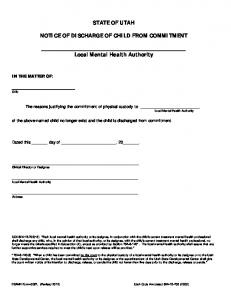 0067 Notice of Discharge from Commitment to the Local Mental Health ...