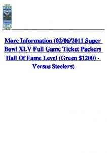 (02/06/2011 Super Bowl XLV Full Game Ticket Packers ...