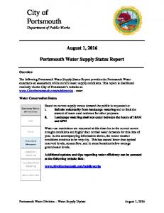 08.01.16 Water Supply Status Report - City of PORTSMOUTH NH