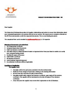 1 REQUEST FOR INFORMATION FORM - RFI ... -