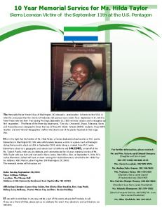 10 Year Memorial Service for Ms. Hilda Taylor -