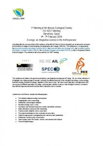 1st Meeting of the Iberian Ecological Society XIV ... -