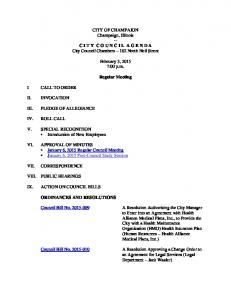 2015-02-03 Regular Council Meeting Agenda