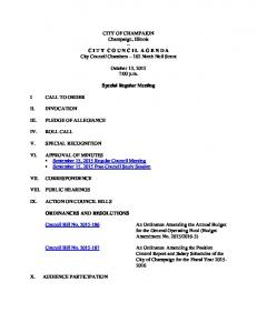 2015-10-13 Special Regular Council Meeting Agenda