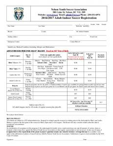2016/2017 Adult Indoor Soccer Registration - Nelson - Nelson Soccer ...