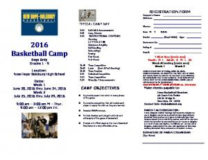 2016 Summer Camp Flyer