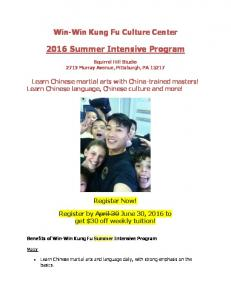 2016 Summer Intensive Program -