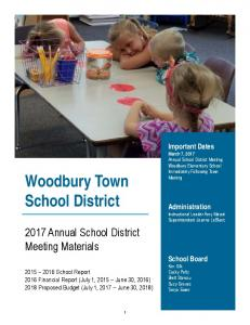 2017 Woodbury Town School District Annual Meeting Materials as of ...