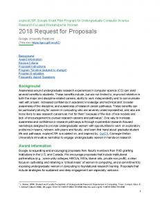 2018 Request for Proposals  Services