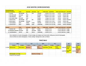 2018 WINTER CHOREOGRAPHIES TIMETABLE