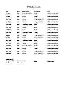 3/4 Girls Game Schedule