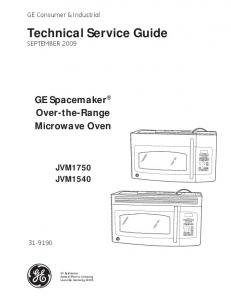 31-9190 GE Spacemaker Over the Range Microwave Oven Service ...