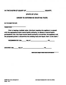 36-2 Order to Determine Existing Facts and Report of Existing Facts (2 ...