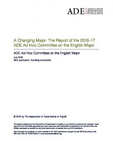 A Changing Major - Association of Departments of English - Modern ...