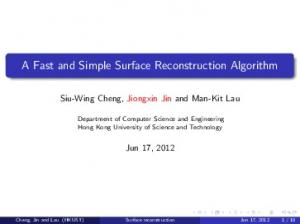A Fast and Simple Surface Reconstruction Algorithm