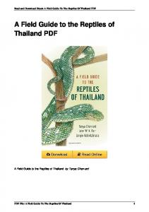A Field Guide to the Reptiles of Thailand by Tanya Chan-ard