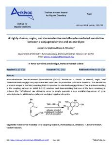 A highly chemo-, regio-, and stereoselective metallacycle ... - Arkivoc
