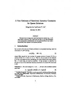 A New Estimate of Restricted Isometry Constants for Sparse Solutions