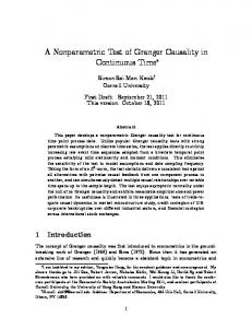 A Nonparametric Test of Granger Causality in ...