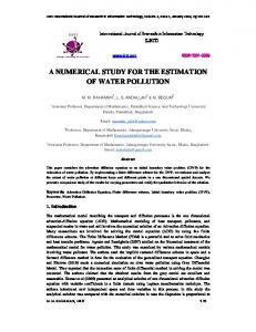 a numerical study for the estimation of water pollution