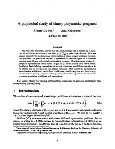 A polyhedral study of binary polynomial programs - Semantic Scholar