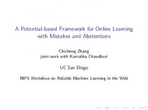 A Potential-based Framework for Online Learning with ...