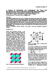 A Review on Perovskites and investigation into Phase ...