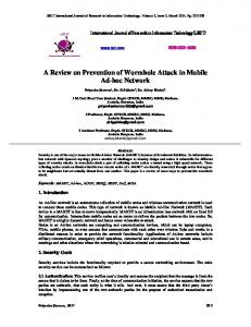 A Review on Prevention of Wormhole Attack in Mobile Ad-hoc ... - IJRIT