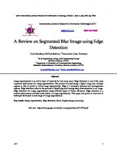 A Review on Segmented Blur Image using Edge Detection
