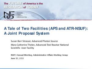A Tale of Two Facilities (APS and ATR-NSUF): A Joint ...