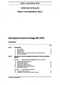 Aboriginal Cultural Heritage Bill 2018 - Office of Environment and ...