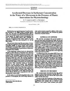 Accelerated decrease in surfactant concentration in the water of a ...