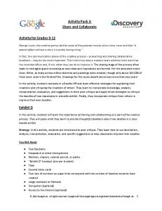 Activity Pack 3: Share and Collaborate Activity for Grades 9 ...