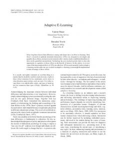 Adaptive E-Learning - Florida State University