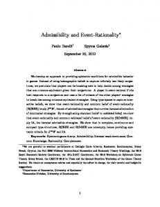 Admissibility and Event-Rationality - ePrints Soton - University of ...