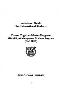 Admission Guide For International Students Dream Together Master ...