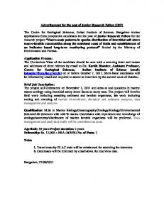 Advertisement for the post of Junior Research Fellow ... -