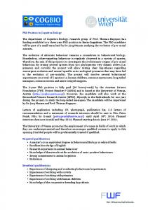 Advertisement PhD Position (FWF P-26806)
