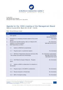 Agenda for the 100th meeting of the Management Board - European ...