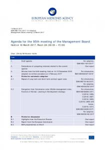 Agenda for the 95th meeting of the Management Board - European ...