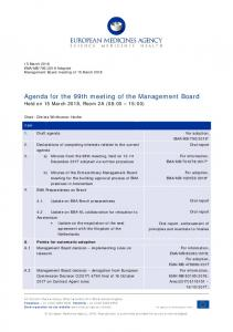 Agenda for the 99th meeting of the Management Board - European ...