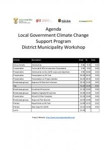 Agenda Local Government Climate Change Support Program ...