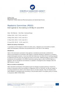 Agenda - PDCO agenda of the 29 May-01 June 2018 meeting