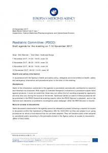 Agenda - PDCO agenda of the 7-10 November 2017 meeting