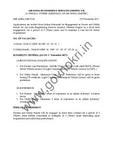 Air India Engg. Services Driver & Utility Hand Recruitment 2018 ...