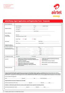 airtel Money Agent Application and Registration Form -
