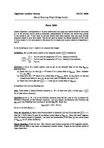 Algebraic number theory LTCC 2009 Exam 2009