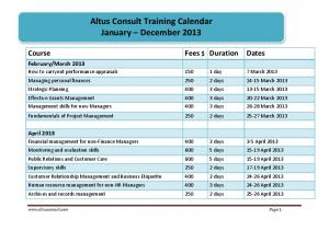 Altus Consult Training Calendar January ... -